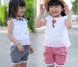 Wholesale New Style summer girls clothing hollow out doll neck top vest grid shorts sport kids set Year baby suits XR175