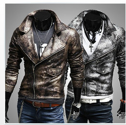 Wholesale new fashion men s leather jacket Imitation snakeskin leather man lapel cultivate one s morality