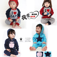 apple baby clothes - Spring Autumn infant clothes I Love Dad Mom And star apple long sleeve baby romper boys girls jumpsuits bodysuit XR162