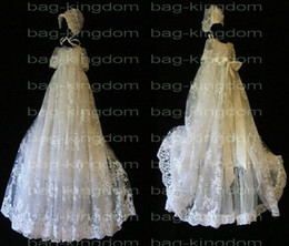 2020 Stunning Christening baby long gown ivory White lace with hat Custom-made size New arrived 013