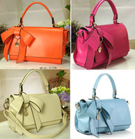 Wholesale New style Women s Handbags Bowknot One Shoulder Bags Candy Color Fashion Korea Colors