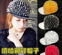 neutral Embroidered Cowboy Wholesale - Adjustable Punk Snapbacks Snapback Snap Back Hats Caps Baseball New Design Rivet Hat Cap Many Colour