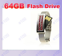 Wholesale 20pcs GB Jewelry Crystal Wrist Bracelet USB Flash Memory Pen Drives Sticks Disks Pendrives Thumbdrives
