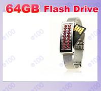 Wholesale 60pcs GB Jewelry Crystal Wrist Bracelet USB Flash Memory Pen Drives Sticks Disks Pendrives Thumbdrives H007P