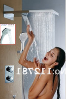 Wholesale Rainfall And Waterfall Bathroom Shower Faucets Set With Two Handles Thermostatic Mixer Valve I003 X23H