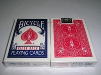 Wholesale Bicycle Rider Back Standard Playing Cards Red or Blue Christm magic toys magic tricks magic props Stage Magic close up magic