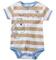 Wholesale baby boys rompers one pieces bodysuits outfits jumpers stripe babywear jumpsuits shirts new born overalls tops shortalls baby clothes W73