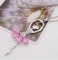 Bohemian ballet pendants - Popular ShanZuan ballet pink skirt girl necklace hostess personality necklace