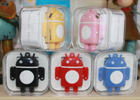 Wholesale Mini Android robot mp3 music player with Gift box earphone usb cable