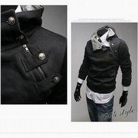 zipper hooded jacket - Men s clothing zipper hooded fleece Black Coat High collar Hoodies Jacket Men s Hoodies inclined zipper design Add villi hooded jacket