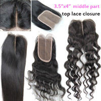Wholesale 100 human hair lace closure middle part quot x quot best virgin brazilian remy hair straight deep body wave loose curly hair extension b