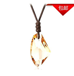 Wholesale New Austrian boys men wishing stone crystal pendant necklace black wax rope distribution