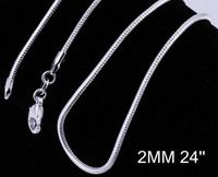 al por mayor plata veneciano-Masiva de plata 925 de la moda Veneciana culebra de collar de cadena caliente de la venta de 2MM de 20 pulgadas 20pcs/lote