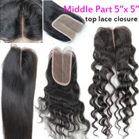 Wholesale 5 quot x quot middle part lace top closure virgin brazilian hair weave extension weft straight deep body wave hair natural b black color