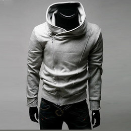 Wholesale Qltrade_3 Hot sales Mens zip slim designed Hoodie Jacket black Top Coat assassins creed style Cardigan flannelette men s fleece jacket