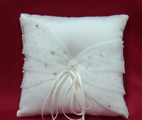 Wholesale High Quality Fashion Crystal Beaded Ivory Satin Ring Pillow Bridal Accessories Wedding Favors