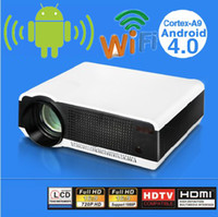 Wholesale Smart beamer build in Android wifi Full HD Home theater Lcd Projector led lamp Lumens P D Wifi smart proyector