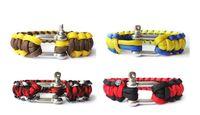 Wholesale Hot Beautiful Paracord Parachute survival Bracelets Hand Made with Steel buckle Emergency evacuation bracelet