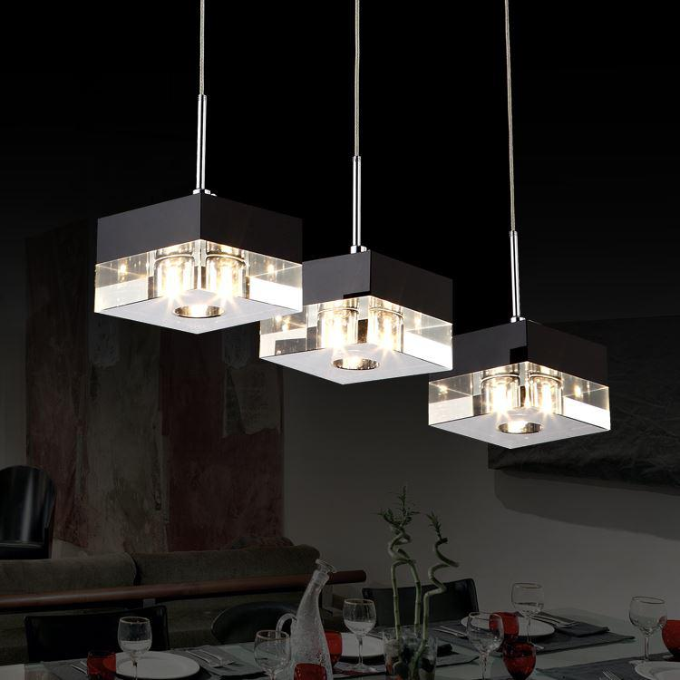 imported crystal block modern minimalist restaurant lights three chandeliers hanging wire led. Black Bedroom Furniture Sets. Home Design Ideas