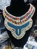 Wholesale New Fashion Wood Crystal Gemstone Beads Handmade Craft Choker Statement Necklace For Girl Party Jewelry Black Ribbon Tie Bib Collar Necklace