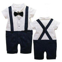 Boy Short Sleeve Summer Summer Classic Baby Boy Girl's Romper Infant Gentleman Suspender Short Sleeves Bow Tie Romper Kids One-piece Clothes