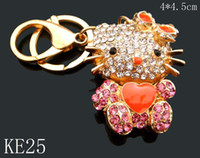 Wholesale 2013 new style fashion crystal rhinestone alloy animals Keychain Promotions Key chain Mixed colors KE25