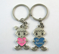 Wholesale High grade Wedding Favors Unique pink and blue love heart baby design Keychain Favors lover Keychain of pairs