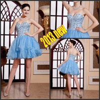 Wholesale 2013 Custom Light Blue Short Beading Crystal Prom Pageant Evening Cocktail Corset Homecoming Dress