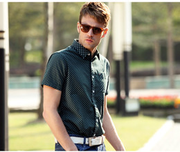 Wholesale Cultivate one s morality pure cotton shirt Wave point men s short sleeve shirt Purple Blue Green shirt Contracted fashion Joker shirt