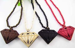 Diamond Pendant Good Wood Hip Hop Jewelry 4 Colors Wooden Necklace Wholesale