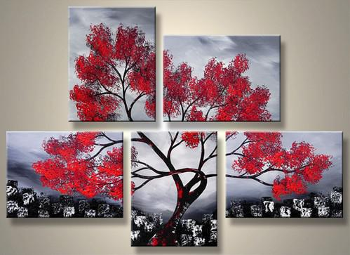 Red Tree Decorative Painting Art Home Decor Landscape Oil Paintings Oil Painting Landscape Group Painting Handmade Oil Painting Online With 131 15 Piece On
