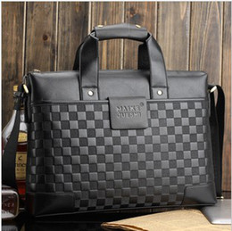 Men Handbag Briefcase Embossed Brown Black Color PU Horizontal Shoulder Tote Style 1PCS Lot Free Shipping 0616B4