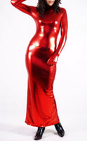 al por mayor rojo metálico zentai-Venta al por mayor - vestido rojo metálico del traje del juego del zentai del spandex atractivo del lycra