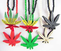 Men's american maple wood - Maple Leaves Pendant Good Wood Hip Hop Wooden Fashion Necklace Colors Mixed