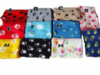 Wholesale Hot Sell New Pet Dog Cat Paw Print Couture Fleece Blanket Mat Size M L T9496