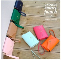 Wholesale Crown smart pouch d leather wallet case smart pouch leather handbags for mobile New Arrival