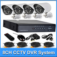 Bullet 4  Home Surveillance camera system kit 8CH H.264 DVR 4pcs 480TVL Day Night IR waterproof Security Bullet Camera CCTV Systems