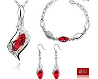 Wholesale 2013 Fashion Jewelry Set Austrian Crystal Pendant Jewelry Nacklace amp Bracelet amp Earrings SET