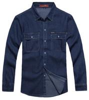 Wholesale 2014 men s casual denim shirts Men s Denim Shirt Mens Long Sleeve Shirt dark blue blue M L XL XXL XXXL men fashion slim jeans