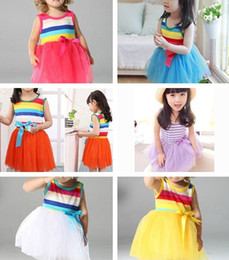 Wholesale Baby Girls Sundress Rainbow dress Cake Dresses Wide Stripe Sleeveless dress colors