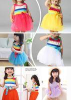 Wholesale Retail Rainbow Dress tutu dress Girls Children Striped Princess Lace Skirt Children dresses Colors