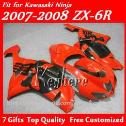 Free 7 gifts Custom ABS fairings kit for KAWASAKI ZX-6R 07 08 Ninja ZX 6R 2007 2008 ZX6R fairings g4f high grade red black motorcycle parts
