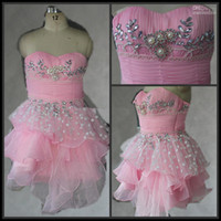 Wholesale HOTSALE pink organza with dots mini homecoming dress with diamond beading prom dress ASP001