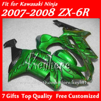 Wholesale Free gifts Custom race fairings kit for KAWASAKI ZX R Ninja ZX6R ZX R fairings g7e green black flames motorcycle body