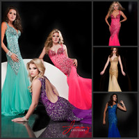 Chiffon Sleeveless Sweep Train Wow Factor !!! Spaghetti Straps Rhinestones Beading Sheath Shinning Evening Gowns Pageant Ball Gown Prom Dresses