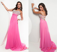 Chiffon Sleeveless Sweep Train Wow Factor !!! Pink Crystals Beading Open Back Sexy Evening Dress Prom Dresses Custom Made