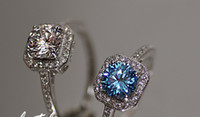 Wholesale charming white blue diamond lady s wedding jewelry ring SZ