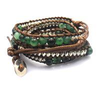 blue green jade - 6mm natural blue green flower general jade beads wrap bracelet new design handmade wrap immitation leather bracelet