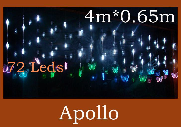 72 Led Bead Curtain Light String 4m * 0.65m Butterfly Door Curtain ...