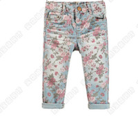Wholesale Baby girl denim vintage rosette rose flower floral Jeans pants kids girl casual legging tights soft fabric pink flower pant